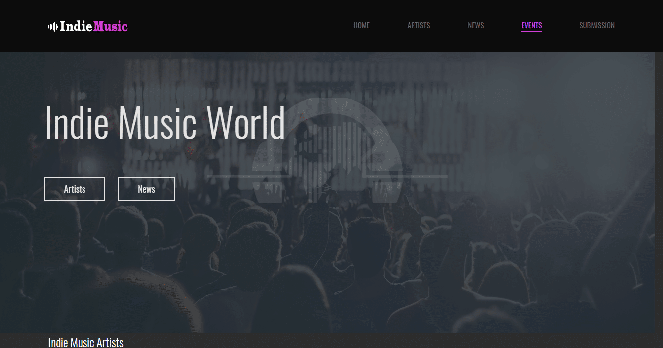 Diseño Web Música Indie Music Artists